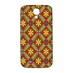 Abstract Yellow Red Frame Flower Floral Samsung Galaxy S4 I9500/i9505  Hardshell Back Case