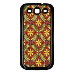 Abstract Yellow Red Frame Flower Floral Samsung Galaxy S3 Back Case (black)