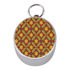Abstract Yellow Red Frame Flower Floral Mini Silver Compasses by Alisyart