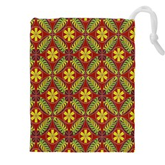 Abstract Yellow Red Frame Flower Floral Drawstring Pouches (xxl) by Alisyart