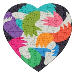 Hand Rainbow Blue Green Pink Purple Orange Monster Jigsaw Puzzle (heart)