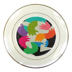 Hand Rainbow Blue Green Pink Purple Orange Monster Porcelain Plates by Alisyart