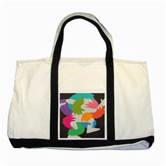 Hand Rainbow Blue Green Pink Purple Orange Monster Two Tone Tote Bag