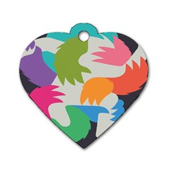 Hand Rainbow Blue Green Pink Purple Orange Monster Dog Tag Heart (two Sides)