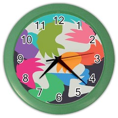 Hand Rainbow Blue Green Pink Purple Orange Monster Color Wall Clocks