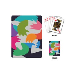 Hand Rainbow Blue Green Pink Purple Orange Monster Playing Cards (mini)  by Alisyart