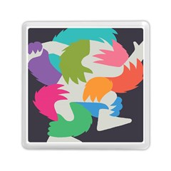 Hand Rainbow Blue Green Pink Purple Orange Monster Memory Card Reader (square)