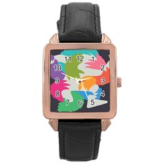 Hand Rainbow Blue Green Pink Purple Orange Monster Rose Gold Leather Watch