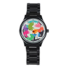 Hand Rainbow Blue Green Pink Purple Orange Monster Stainless Steel Round Watch by Alisyart