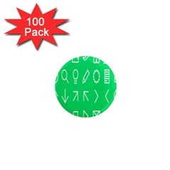 Icon Sign Green White 1  Mini Magnets (100 Pack)  by Alisyart