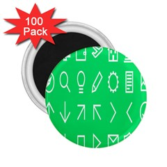 Icon Sign Green White 2 25  Magnets (100 Pack)  by Alisyart