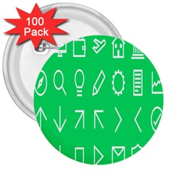 Icon Sign Green White 3  Buttons (100 Pack)  by Alisyart