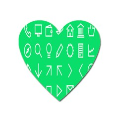 Icon Sign Green White Heart Magnet by Alisyart