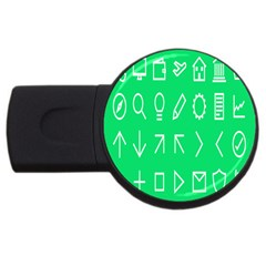 Icon Sign Green White Usb Flash Drive Round (2 Gb) by Alisyart