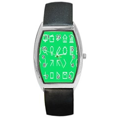 Icon Sign Green White Barrel Style Metal Watch by Alisyart