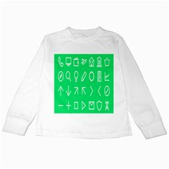 Icon Sign Green White Kids Long Sleeve T Shirts by Alisyart