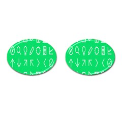 Icon Sign Green White Cufflinks (oval)