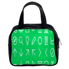 Icon Sign Green White Classic Handbags (2 Sides) by Alisyart