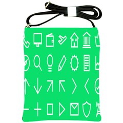 Icon Sign Green White Shoulder Sling Bags