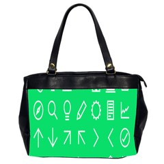 Icon Sign Green White Office Handbags (2 Sides)  by Alisyart