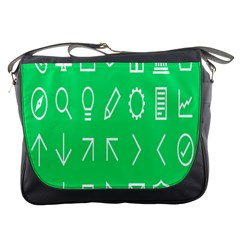 Icon Sign Green White Messenger Bags by Alisyart
