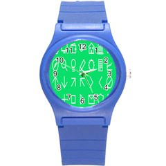 Icon Sign Green White Round Plastic Sport Watch (s) by Alisyart