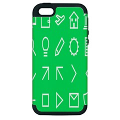 Icon Sign Green White Apple Iphone 5 Hardshell Case (pc+silicone) by Alisyart