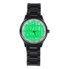 Icon Sign Green White Stainless Steel Round Watch