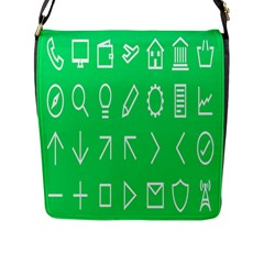 Icon Sign Green White Flap Messenger Bag (l)  by Alisyart