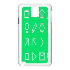 Icon Sign Green White Samsung Galaxy Note 3 N9005 Case (white) by Alisyart