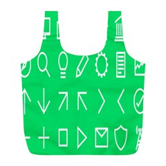 Icon Sign Green White Full Print Recycle Bags (l)  by Alisyart