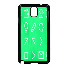Icon Sign Green White Samsung Galaxy Note 3 Neo Hardshell Case (black) by Alisyart