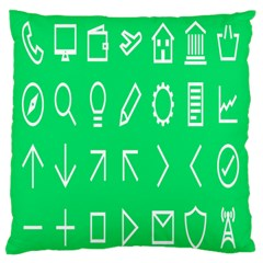 Icon Sign Green White Standard Flano Cushion Case (one Side)