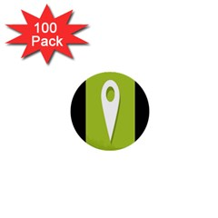 Location Icon Graphic Green White Black 1  Mini Buttons (100 Pack)  by Alisyart