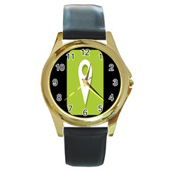 Location Icon Graphic Green White Black Round Gold Metal Watch by Alisyart