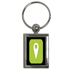 Location Icon Graphic Green White Black Key Chains (rectangle)