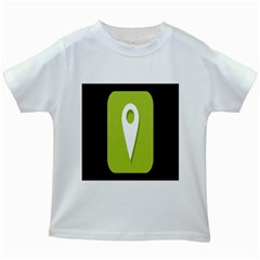 Location Icon Graphic Green White Black Kids White T Shirts by Alisyart