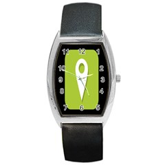 Location Icon Graphic Green White Black Barrel Style Metal Watch by Alisyart