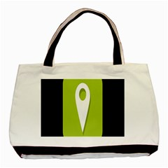 Location Icon Graphic Green White Black Basic Tote Bag (two Sides) by Alisyart