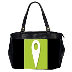 Location Icon Graphic Green White Black Office Handbags (2 Sides)  by Alisyart