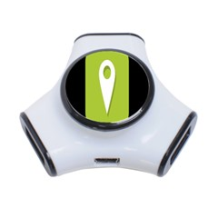 Location Icon Graphic Green White Black 3 Port Usb Hub by Alisyart