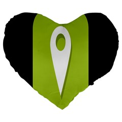 Location Icon Graphic Green White Black Large 19  Premium Flano Heart Shape Cushions
