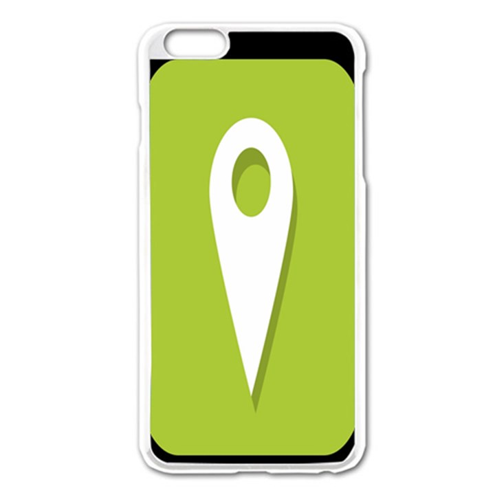 Location Icon Graphic Green White Black Apple iPhone 6 Plus/6S Plus Enamel White Case