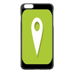Location Icon Graphic Green White Black Apple Iphone 6 Plus/6s Plus Black Enamel Case by Alisyart