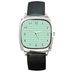 Crown King Triangle Plaid Wave Green White Square Metal Watch by Alisyart