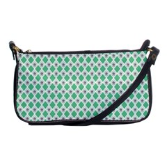 Crown King Triangle Plaid Wave Green White Shoulder Clutch Bags by Alisyart
