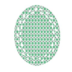 Crown King Triangle Plaid Wave Green White Ornament (oval Filigree)