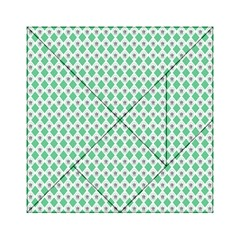 Crown King Triangle Plaid Wave Green White Acrylic Tangram Puzzle (6  X 6 )