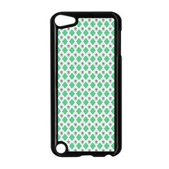 Crown King Triangle Plaid Wave Green White Apple Ipod Touch 5 Case (black)