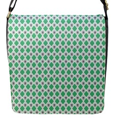 Crown King Triangle Plaid Wave Green White Flap Messenger Bag (s)